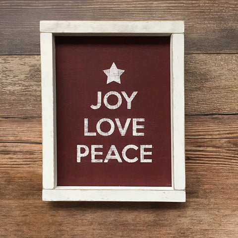 Joy Love Peace Distressed Wood Sign