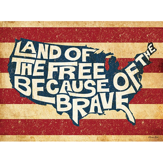 Land of the Free Because of the Brave Print