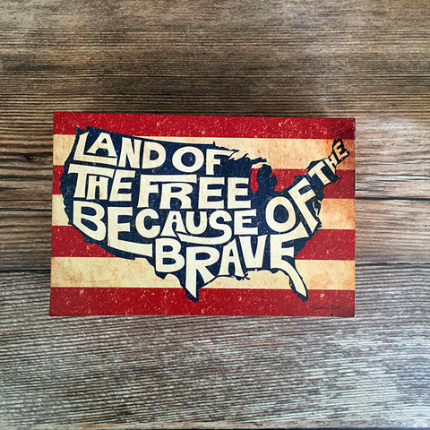 Land of the Free Wood Block