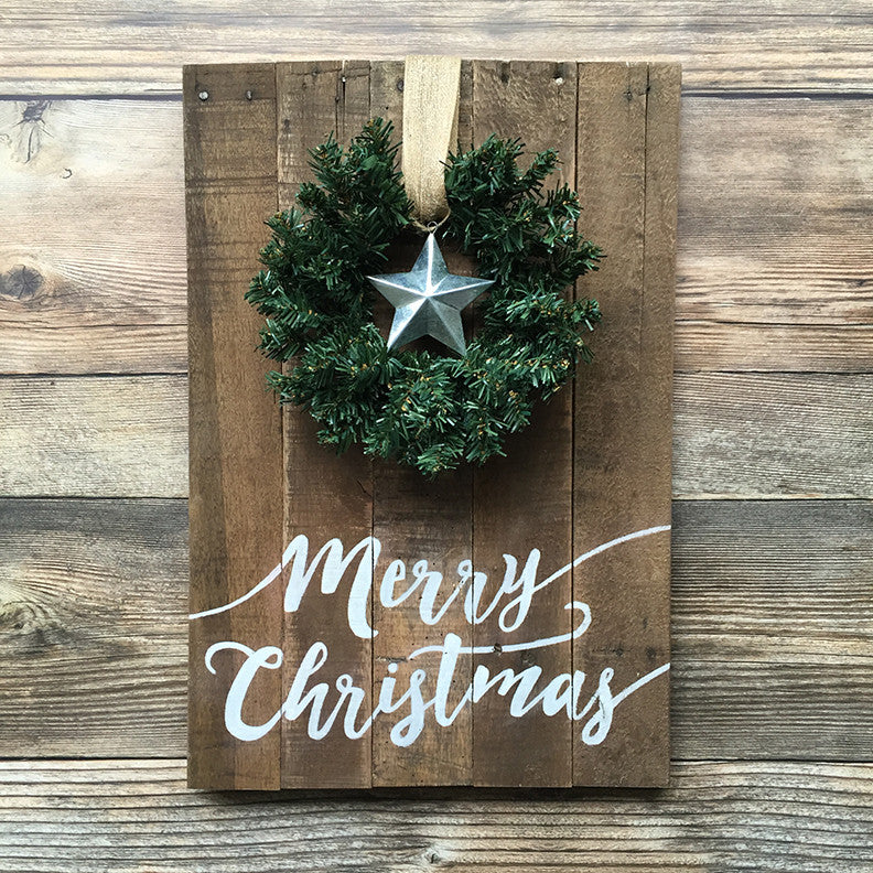 Rustic Hand Painted Merry Christmas Sign with Wreath and Tin Star
