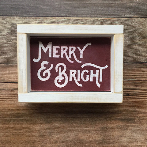Merry and Bright Distressed Wood Sign