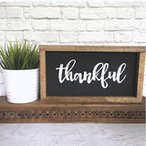 Thankful Hand Painted Framed Wood Sign