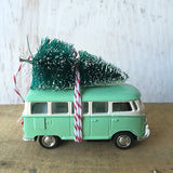 Bus Van Christmas Ornament with Tree on Top Pastels