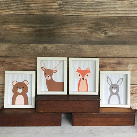 Woodland Animals Set of 4 Nursery Toddler Decor
