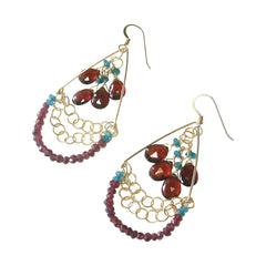 Garnet and Apatite earrings