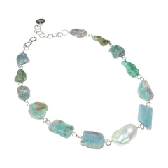 Paraiba Tourmaline & Baroque Pearl Necklace