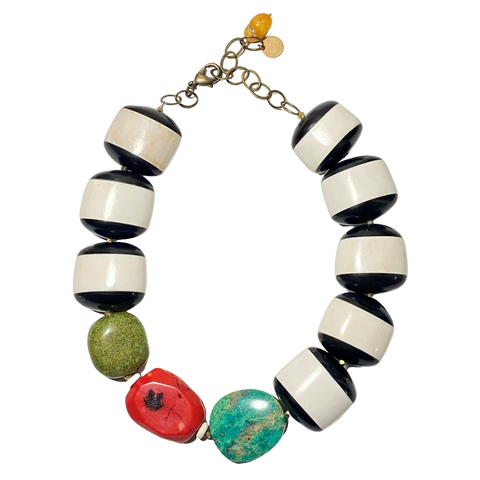 Bone, Chrysocolla, Coral & Turquoise Necklace