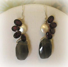 Labradorite, Pearl & Garnet Earrings