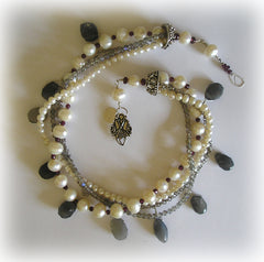 Freshwater Pearl, Labradorite, Grey Moonstone & Garnet Necklace