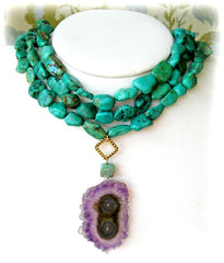 Amethyst stalactite and turquoise necklace