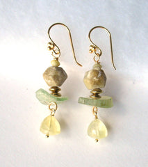Oregon Green Garnet, Prehnite, Roman Glass Earrings