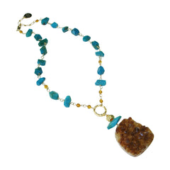 Citrine Drusy & Chrysocolla Necklace by Carol Lipworth Designs