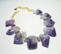 Amethyst and gold plate necklace