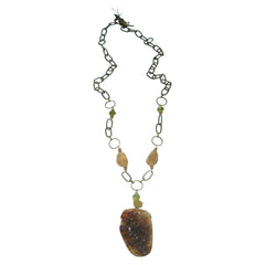 Citrine Drusy & Antiqued Brass Necklace by Carol Lipworth Designs