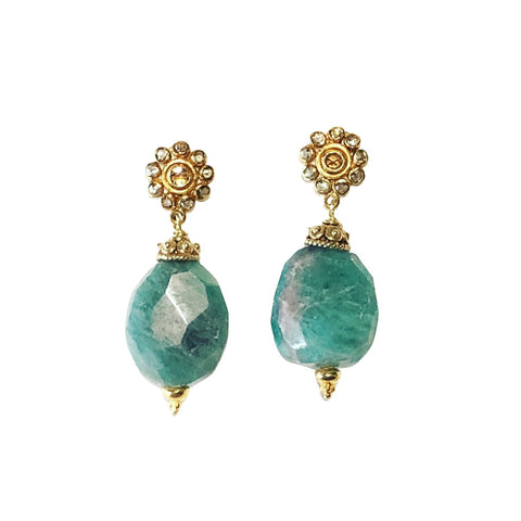 Paraiba Tourmaline, Diamond & Gold Earrings
