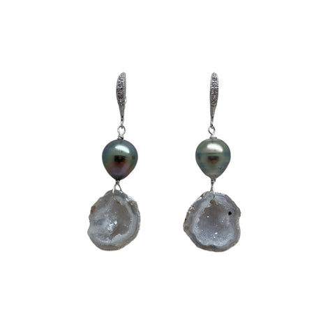 Tahitian Pearl and Geode Earrings
