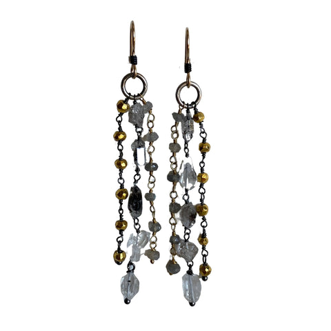 Herkimer Diamond, Labradorite and Pyrite Earrings