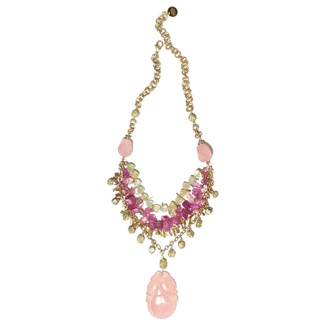 Pink & Green Statement Necklace
