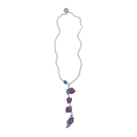 Purple and Blue Vintage Lucite Flowers Lariat