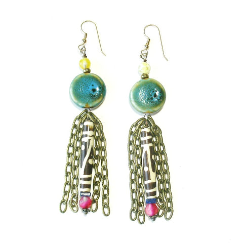 Boho Raku Earrings