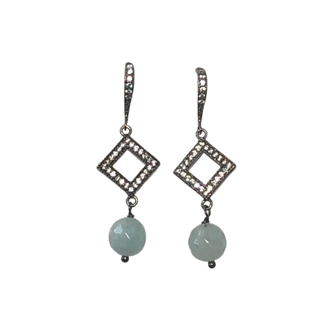 Aquamarine, White Topaz Earrings