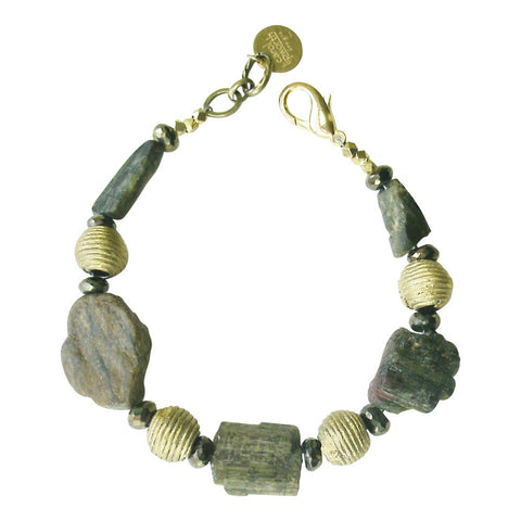 Rough Tourmaline, Labradorite & Brass Bracelet