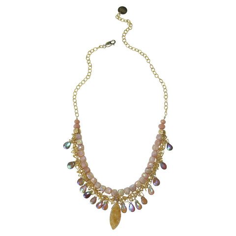 Citrine Drusy, Hessonite Garnet, Sunstone, Vermeil & 14kt Gold Fill Necklace