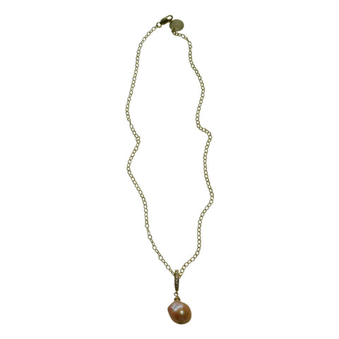 Peach Baroque Pearl & Gold Necklace