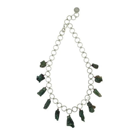 Green Tourmaline, Amethyst & Sterling Silver Necklace