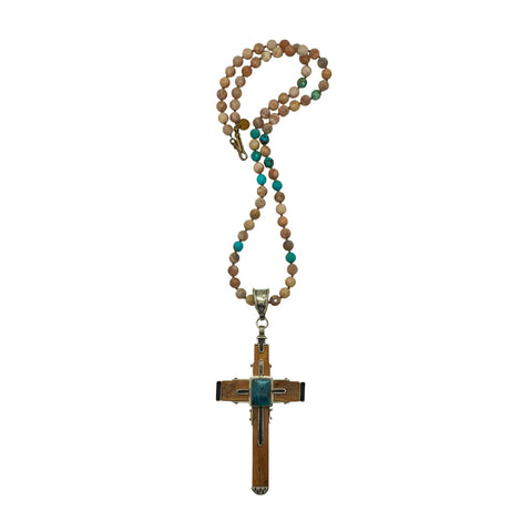 Mammoth Ivory and Turquoise Cross on Sunstone Chain