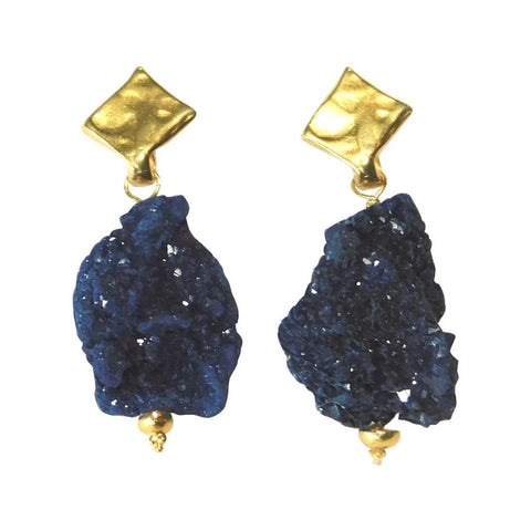 Azurite Drusy & Gold Earrings