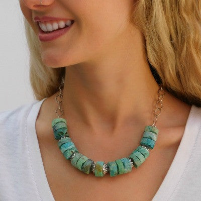 Turquoise Chrysocolla & Silver Necklace