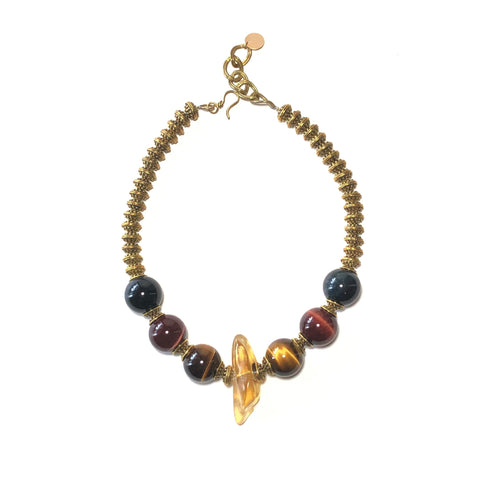 Amber and Tiger Eye Necklace