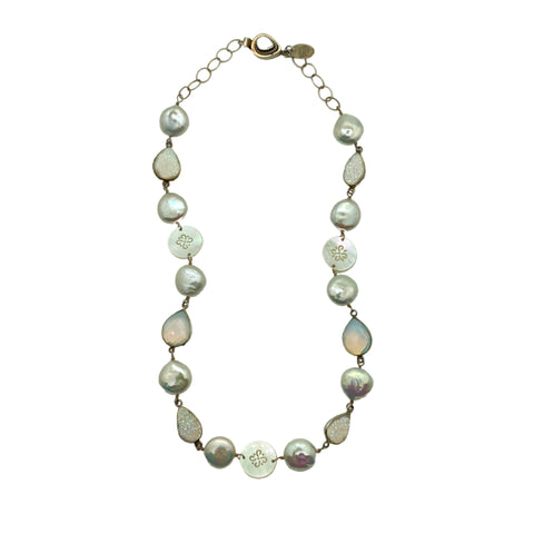 Pearl, Drusy & Opalite Necklace