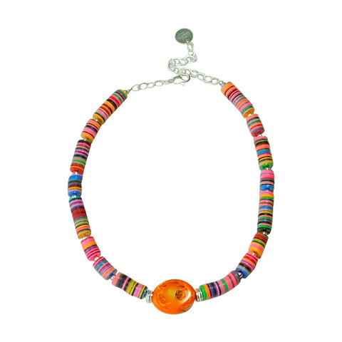 Carnivale Collection Multi-color Necklace with Coral