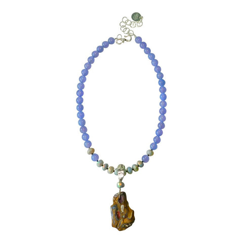 Lavender Chalcedony & Opal Necklace