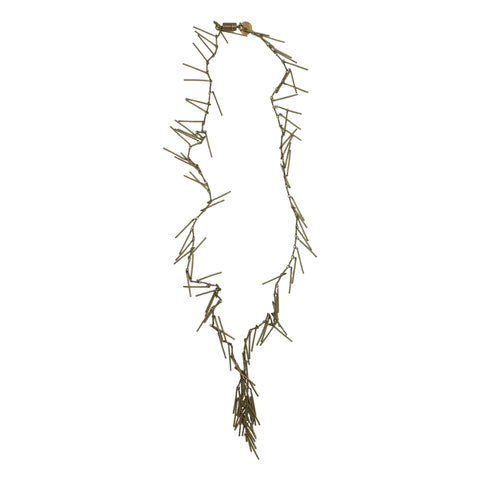 Antiqued Brass Fringe Necklace