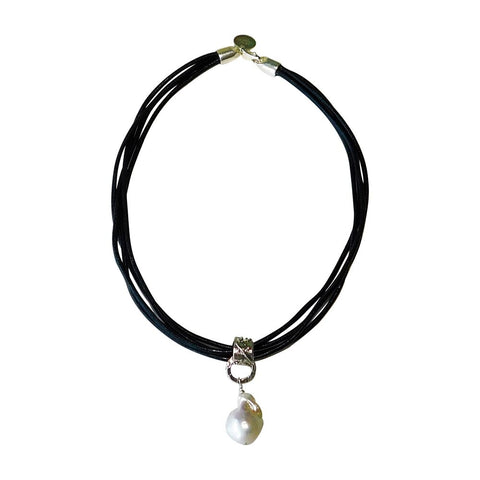 White Baroque Pearl and Black Leather Necklace