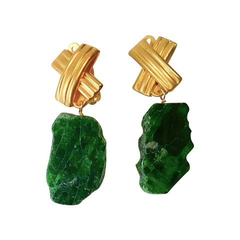 Chrome Diopside & Gold Clip Earrings