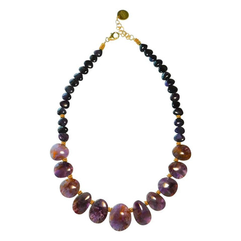 Cacoxenite Amethyst & Sugilite Necklace