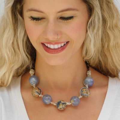Round Periwinkle Chalcedony Beads & Silver Necklace