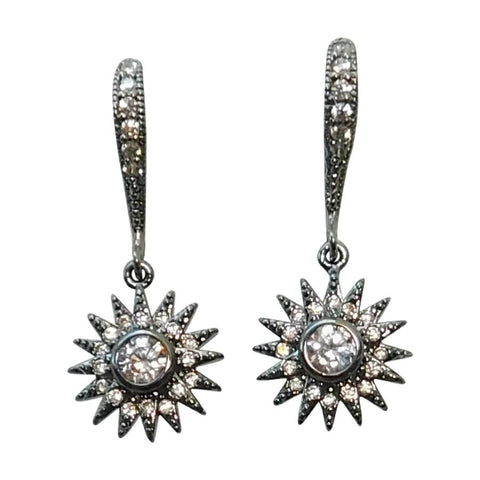 Gun Metal & Crystal Star Earrings