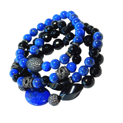 Lapis and Black Bracelets