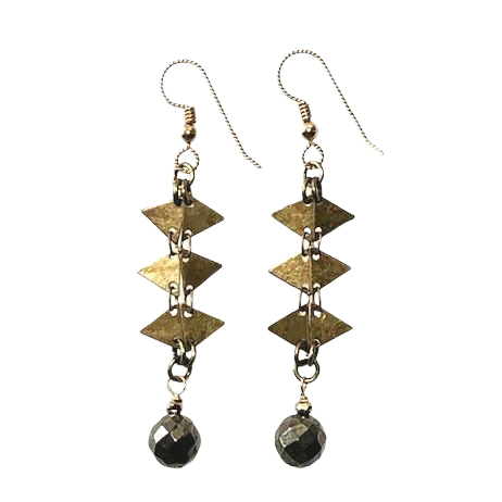 Pyrite & Antiqued Brass Earrings