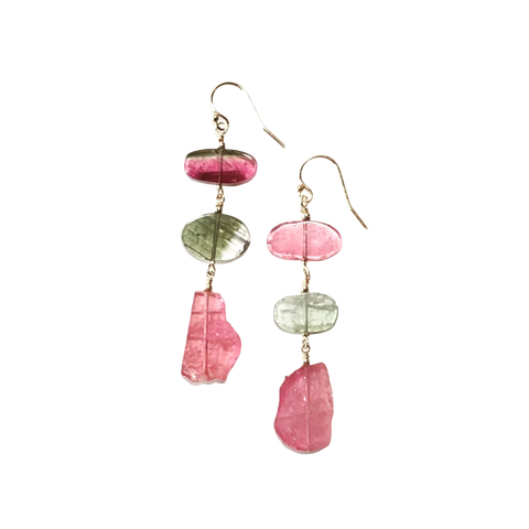 Pink & Green Tourmaline Earrings