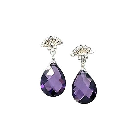 Purple Swarovski Crystal Earrings