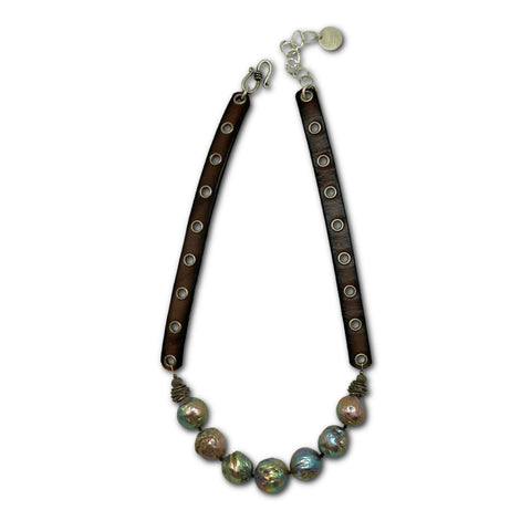 Baroque Pearl & Leather Necklace