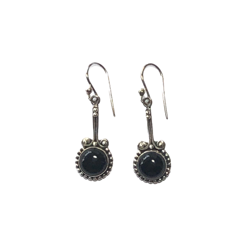 Onyx & Silver Earrings