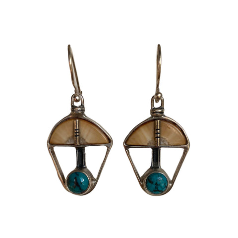 Fossil Walrus Ivory, Turquoise and Silver Earrings