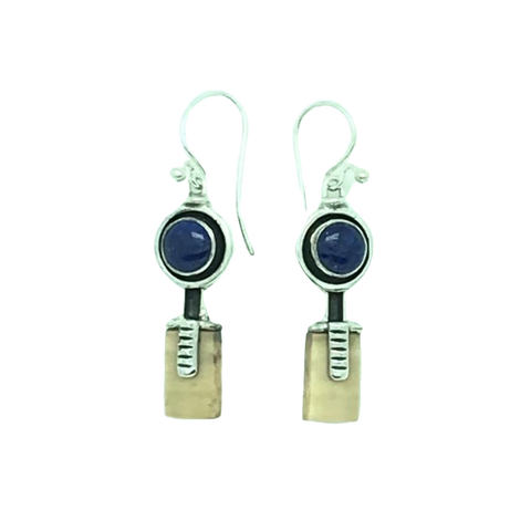 Lapis and Fossil Walrus Ivory Earrings
